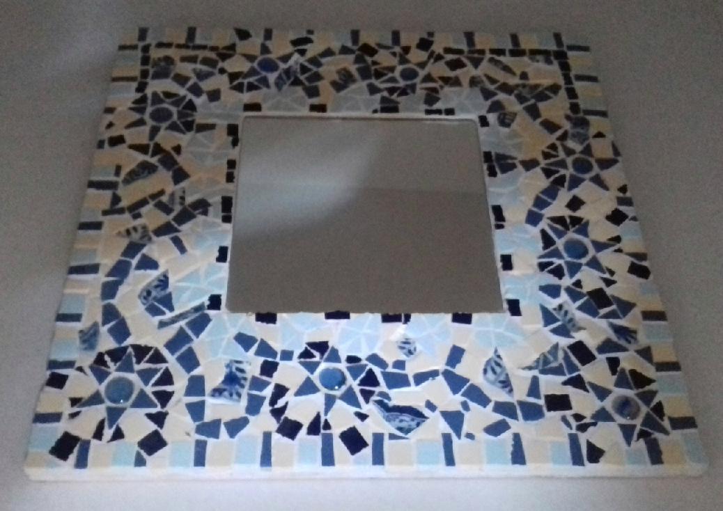 spiegellijst mozaïeken delfsblauw